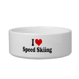 Amo el esquí de la velocidad tazón para comida gato