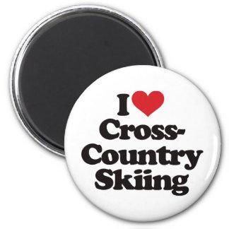 Amo el esquí del campo a través imán redondo 5 cm