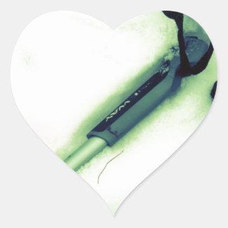 Amo el esquí del campo a través pegatina en forma de corazón