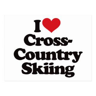 Amo el esquí del campo a través tarjeta postal