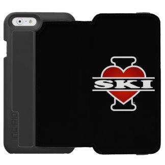 Amo el esquí funda billetera para iPhone 6 watson