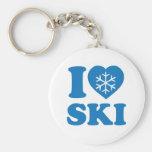 Amo el esquí llavero redondo tipo pin