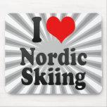 Amo el esquí nórdico tapete de raton
