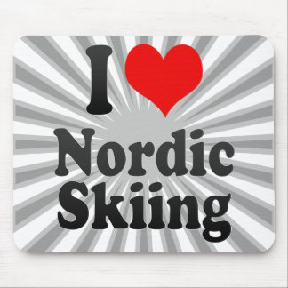 Amo el esquí nórdico tapetes de ratones
