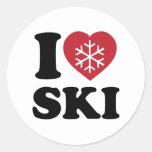 Amo el esquí pegatina redonda
