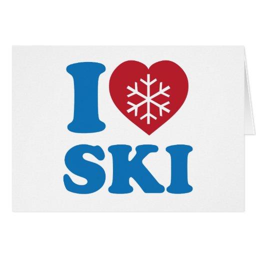 Amo el esquí tarjeta de felicitación