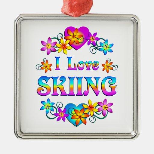 Amo el esquiar adorno navideño cuadrado de metal