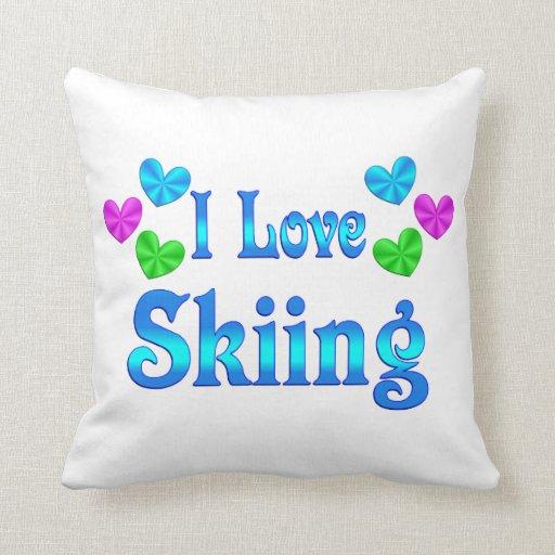 Amo el esquiar cojín