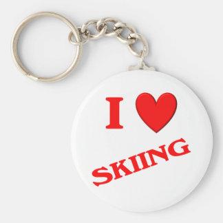 Amo el esquiar llavero personalizado