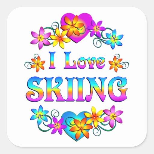 Amo el esquiar pegatina cuadrada