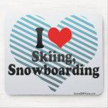 Amo el esquiar, snowboard alfombrilla de ratón