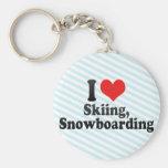 Amo el esquiar, snowboard llavero personalizado