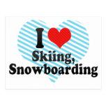 Amo el esquiar, snowboard tarjeta postal