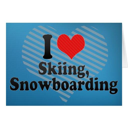 Amo el esquiar, snowboard tarjeton