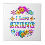 Amo el esquiar teja  ceramica