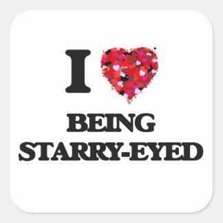 Amo el Estrellado-Ser observado Pegatina Cuadrada