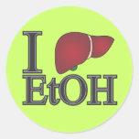 Amo el etanol pegatina redonda