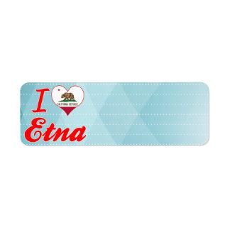 Amo el Etna, California Etiqueta De Remitente