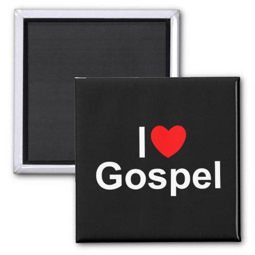 Amo el evangelio (del corazón) imán cuadrado