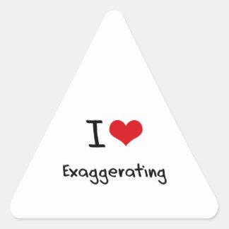 Amo el exagerar pegatinas trianguladas personalizadas