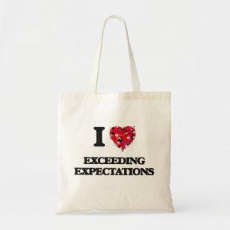 Amo el exceder de expectativas bolsa tela barata