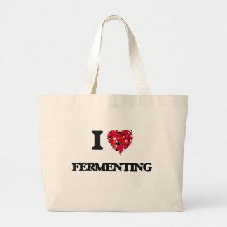 Amo el fermentar bolsa tela grande