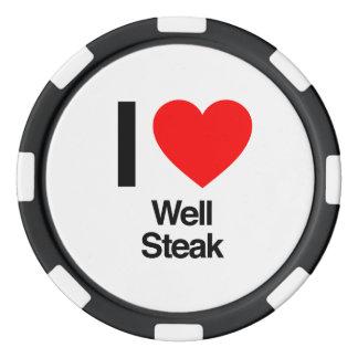amo el filete bien juego de fichas de póquer