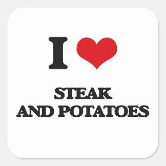 Amo el filete y las patatas pegatina cuadrada