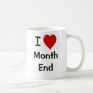 Amo el fin de mes - fin de mes del corazón de I Taza Básica Blanca