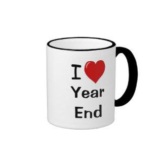 Amo el final de año - final de año del corazón de taza de dos colores