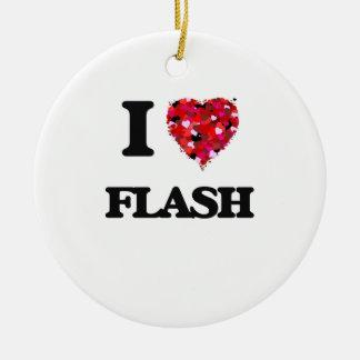 Amo el flash adorno redondo de cerámica