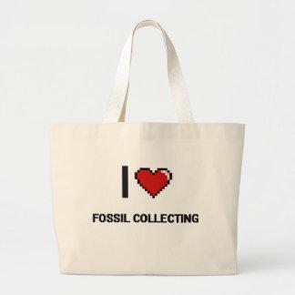 Amo el fósil que recoge el diseño retro de bolsa tela grande