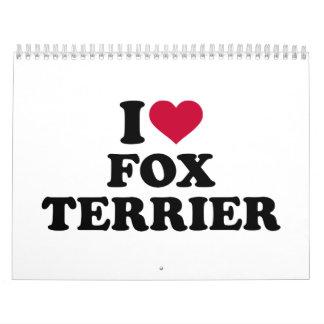 Amo el fox terrier calendarios de pared
