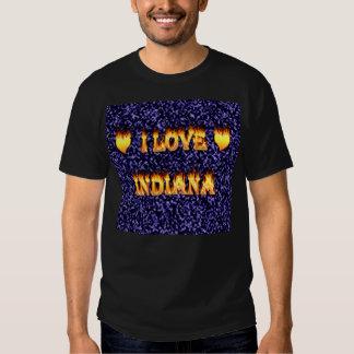 amo el fuego y las llamas de Indiana azules Camisas