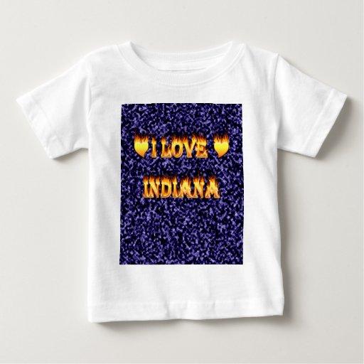 amo el fuego y las llamas de Indiana azules Playera Para Bebé