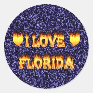 Amo el fuego y las llamas de la Florida Pegatina Redonda