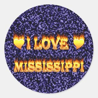 Amo el fuego y las llamas de Mississippi Pegatina Redonda