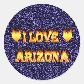 Amo el fuego y los flaems de Arizona Pegatina Redonda