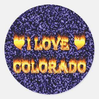 Amo el fuego y los flaems de Colorado Pegatina Redonda