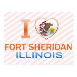 Amo el fuerte Sheridan, IL Tarjetas Postales