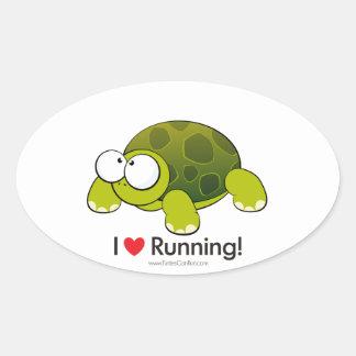 Amo el funcionar con de la tortuga pegatina ovalada
