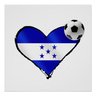 Amo el futbol de Honduras - corazón de la bandera  Póster