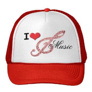 Amo el G-clef de la música Gorros Bordados