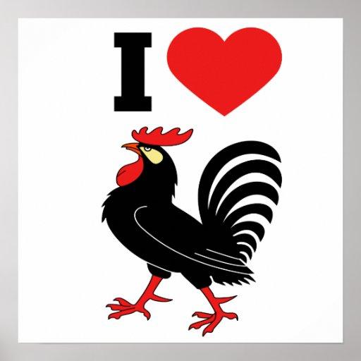 Amo el gallo impresiones