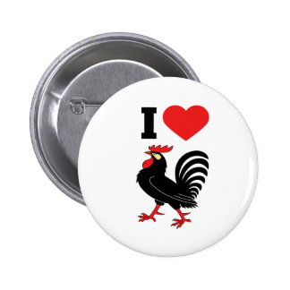 Amo el gallo pin redondo de 2 pulgadas