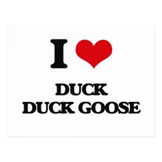 Amo el ganso del pato del pato tarjetas postales