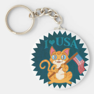 Amo el gatito de los E E U U Llavero Personalizado