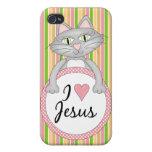 Amo el gato 4 de la diversión de Jesús iPhone 4 Protectores