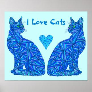 """Amo el gato abstracto azul de los gatos 24"""" x 20"""" poster"""