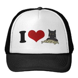 Amo el gato de los espaguetis gorras de camionero